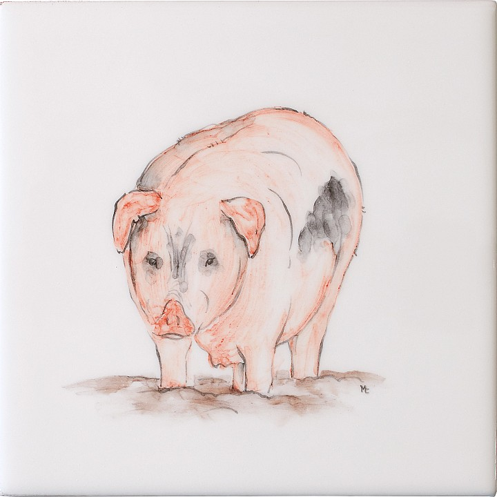 Old Spot Pig by Marlborough Tiles
