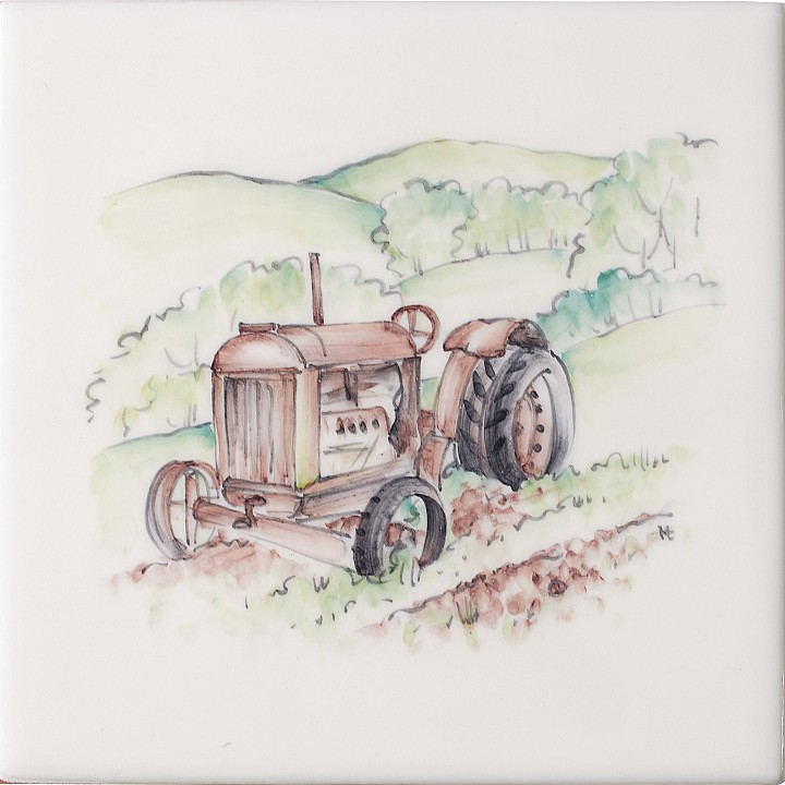 Vintage Tractor 1 by Marlborough Tiles